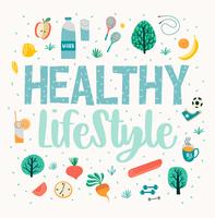 Healthy lifestyle vector illustration. Design elements for graphic module.
