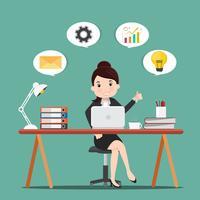 Concepto de productividad. Mujer de negocios que trabaja en el escritorio. Ilustración de vector.