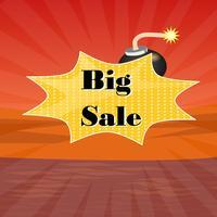 Großer Verkaufsplakattext mit schwarzem Bomp auf rotem Hintergrund