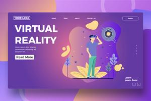 Virtual reality landing page template vector