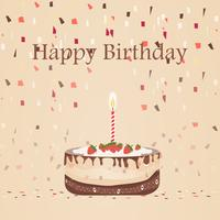 Birthday chocolate cake with candle vector design isolated on Brown background. illustration With Ribbon