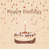 Torta al cioccolato compleanno con disegno vettoriale candela isolato su sfondo marrone. illustrazione con nastro