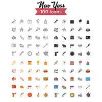 vector conjunto de iconos de año nuevo