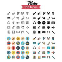 musique icon set vector