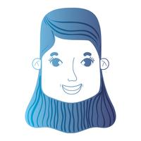 línea avatar mujer cabeza con peinado