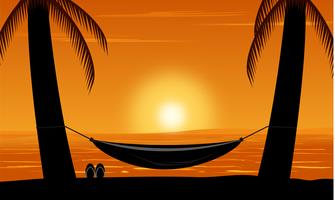 Silhouette of palm tree and hammock on beach under sunset sky background. Design summer vector illustration