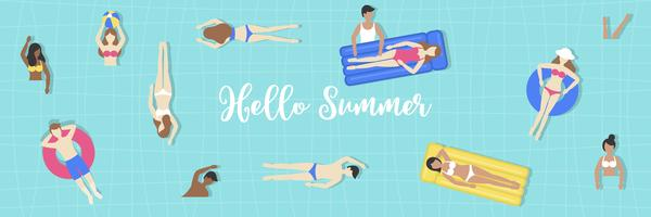 Hello Summer, Top view Swimming pool vector