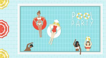 Pool-Party, Draufsicht Swimmingpoolvektor