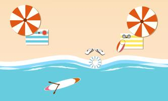 Vista superior de la playa de la isla en verano. Ilustración de vector de diseño plano. Fondo para copia espacio