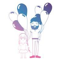 linha pai e dauther juntamente com design de balões