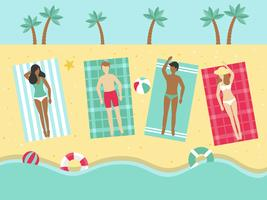 Summer Holiday, Sunbathing on the beach vector