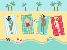 Vacaciones de verano, tomar el sol en el vector de playa