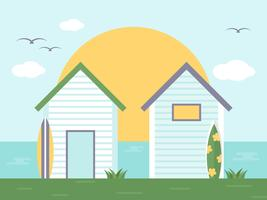 Summer Holiday, Bungalow with side sea view vector