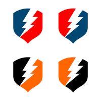 Set Thunderbolt Shield Logo Template Illustratie Ontwerp. Vector EPS 10.