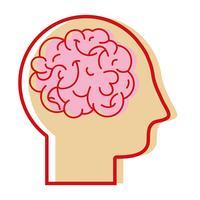homem de silhueta com design de cérebro de anatomia