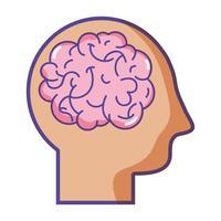 silhouet man met anatomie hersenen ontwerp