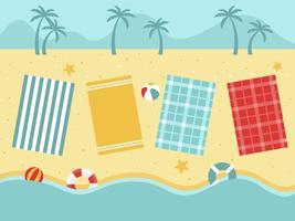 Zomervakantie, uitzicht op het strand met strandspullen