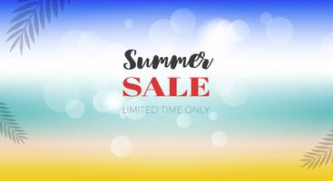 Summer Sale poster, Summer Beach view vector