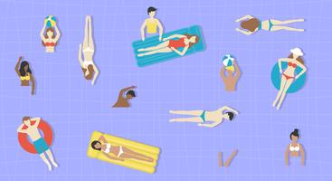 Vacanze estive, persone nel vettore della piscina