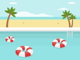 Vacaciones de verano, piscina junto al mar.