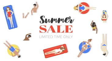 Manifesto di vendita di estate, persone in piscina