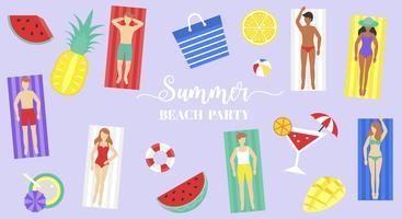 Summer Beach party, persone sul tappetino da spiaggia