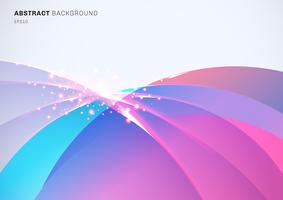 Resumen colorido curvado superpuesto y luz efecto chispeante sobre fondo blanco con espacio para texto