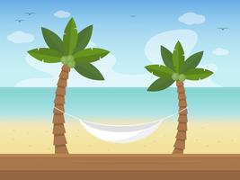 Summer Holiday, Hammock on the beach vector