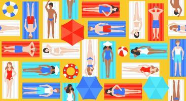 Zonnebaden, verschillende mensen op strandmat vector