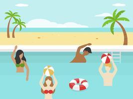Vacanze estive, giocando in piscina
