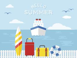 Summer vacation, Cruise ship travel vector illustration