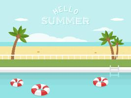 Sommerurlaub, Schwimmbad am Meer