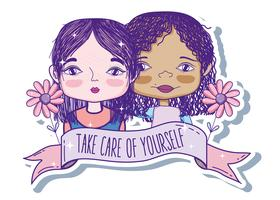 Take care of yourself quote with girl cartoon