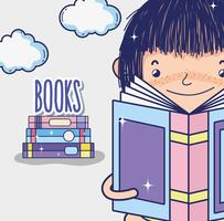 Söt tjej som läser en boktecknad film