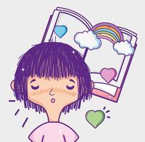 Nettes Mädchen, das eine Buchkarikatur liest