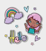 Hello card with cute cartoons