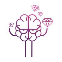 línea cerebro kawaii con icono de dimonds