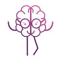 línea adorable cerebro kawaii con gafas