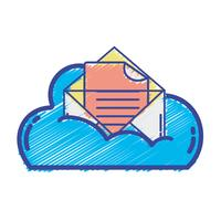 cloud data and card with document information