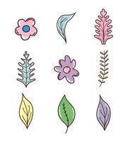 Set van bloemen en bladeren