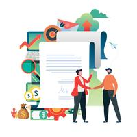 Business people signed contract. Hand shake of business.  vector illustration.