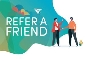 Recruitment. Refer a friend vector illustration.