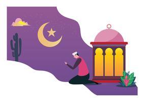Gelukkig Ramadan Mubarak groet festival conceptontwerp. Vector platte cartoon