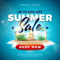 Summer Sale Design with Exotic Palm Leaves in Sunglasses on Tropical Island Background. Vector Special Offer Illustration with Blue Ocean Landscape for Coupon