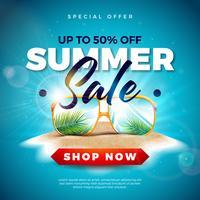 Sommerschlussverkauf-Design mit exotischen Palmblättern in der Sonnenbrille auf Tropeninsel-Hintergrund. Vektor-Sonderangebot-Illustration mit blauer Ozean-Landschaft für Kupon