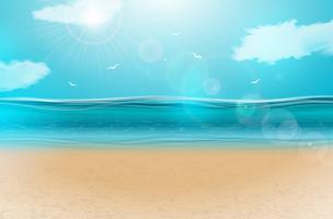 Vector blauw oceaanlandschapsontwerp als achtergrond met bewolkte hemel. De zomerillustratie met overzeese scène en zandig strand