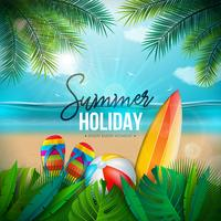 Vector Summer Holiday Illustration med Beach Ball, Palm Leaves, Surf Board och Typografi Brev på Blue Ocean Landscape Background. Sommar semesterdesign