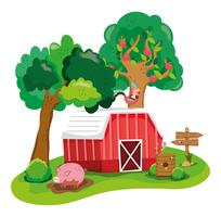 Beautiful farm cartoon