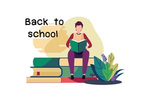 Welcome back to school. Flat cartoon illustration vector