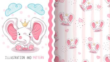 Cute princess elephant - seamless pattern
